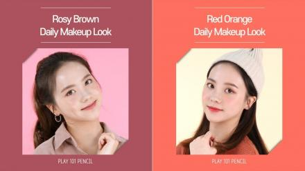 'Play 101 Pencil NEW' Rosy brown / Red orange daily makeup look